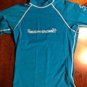 Blue Short Sleeves Body Glove Size Small